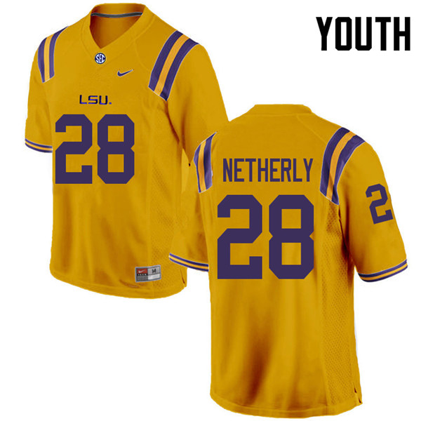 Youth #28 Mannie Netherly LSU Tigers College Football Jerseys Sale-Gold