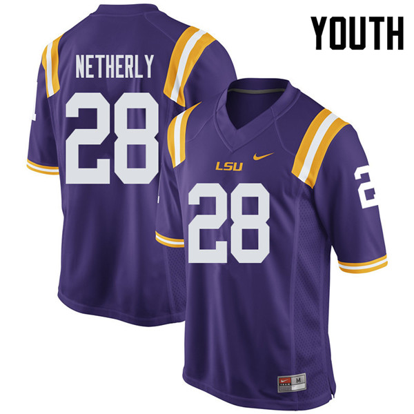 Youth #28 Mannie Netherly LSU Tigers College Football Jerseys Sale-Purple