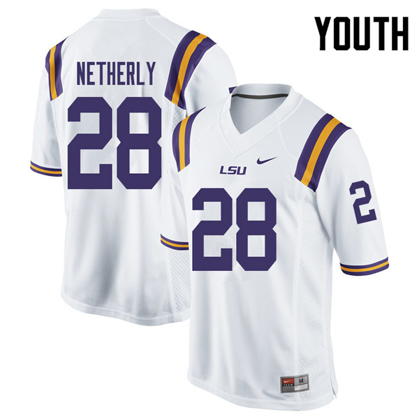 Youth #28 Mannie Netherly LSU Tigers College Football Jerseys Sale-White