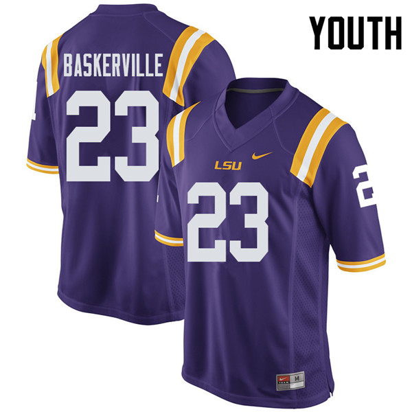 Youth #23 Micah Baskerville LSU Tigers College Football Jerseys Sale-Purple