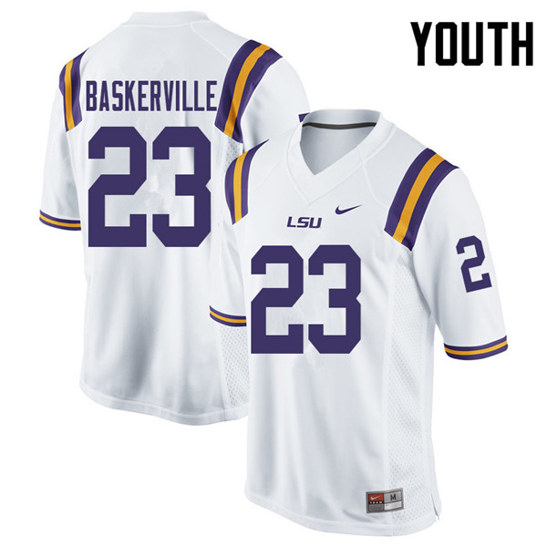 Youth #23 Micah Baskerville LSU Tigers College Football Jerseys Sale-White