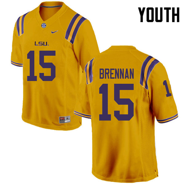 Youth #15 Myles Brennan LSU Tigers College Football Jerseys Sale-Gold