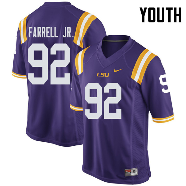Youth #92 Neil Farrell Jr. LSU Tigers College Football Jerseys Sale-Purple