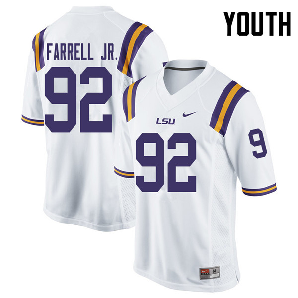 Youth #92 Neil Farrell Jr. LSU Tigers College Football Jerseys Sale-White