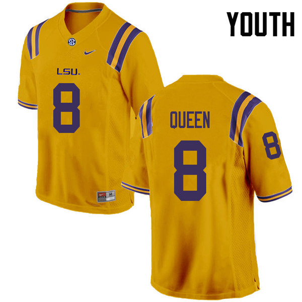 Youth #8 Patrick Queen LSU Tigers College Football Jerseys Sale-Gold