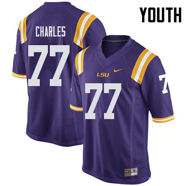Youth #77 Saahdiq Charles LSU Tigers College Football Jerseys Sale-Purple