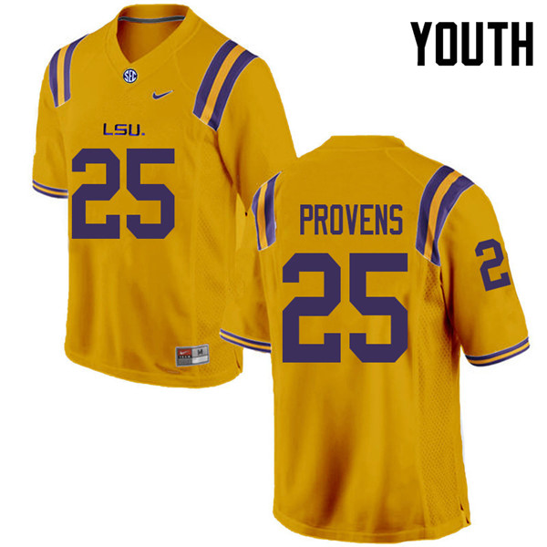 Youth #25 Tae Provens LSU Tigers College Football Jerseys Sale-Gold