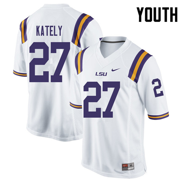 Youth #27 Treven Kately LSU Tigers College Football Jerseys Sale-White