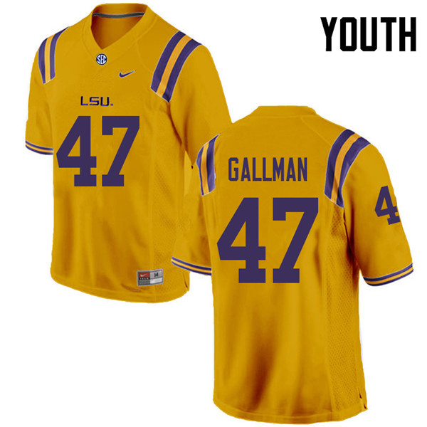 Youth #47 Trey Gallman LSU Tigers College Football Jerseys Sale-Gold