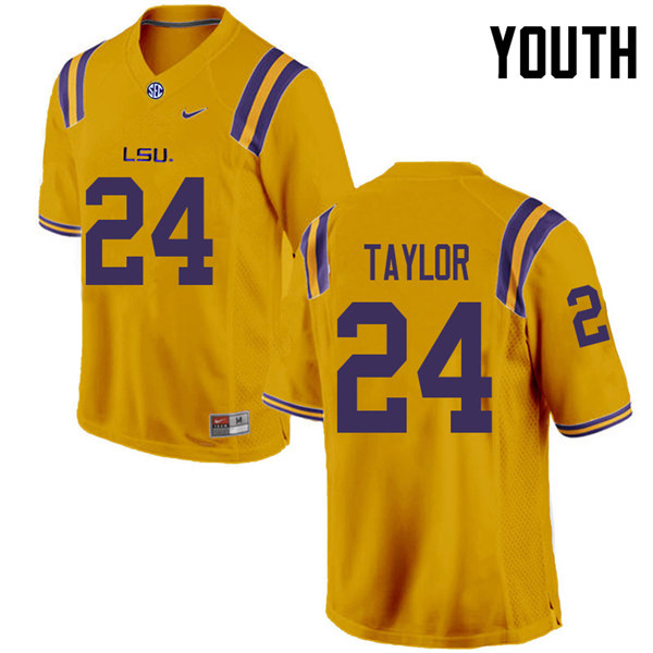 Youth #24 Tyler Taylor LSU Tigers College Football Jerseys Sale-Gold
