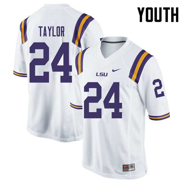 Youth #24 Tyler Taylor LSU Tigers College Football Jerseys Sale-White