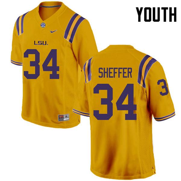 Youth #34 Zach Sheffer LSU Tigers College Football Jerseys Sale-Gold