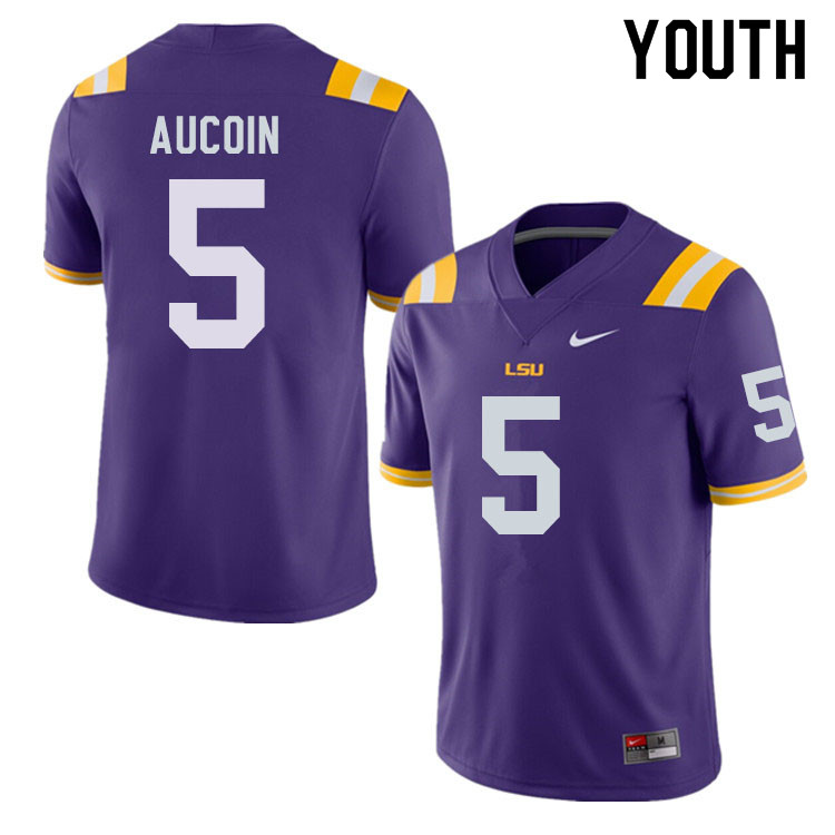 Youth #5 Alex Aucoin LSU Tigers College Football Jerseys Sale-Purple