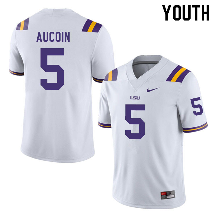 Youth #5 Alex Aucoin LSU Tigers College Football Jerseys Sale-White