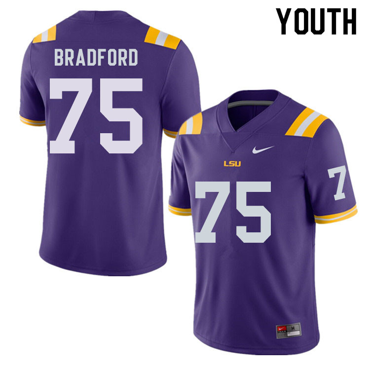 Youth #75 Anthony Bradford LSU Tigers College Football Jerseys Sale-Purple