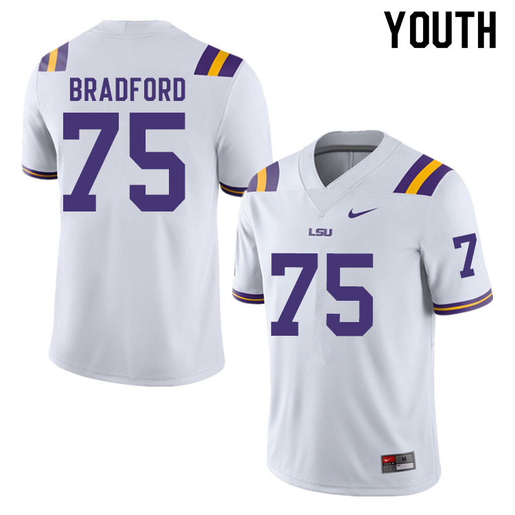 Youth #75 Anthony Bradford LSU Tigers College Football Jerseys Sale-White
