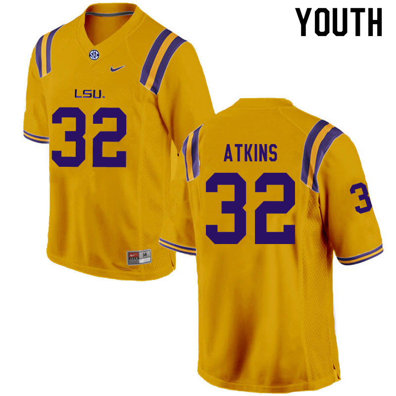Youth #32 Avery Atkins LSU Tigers College Football Jerseys Sale-Gold