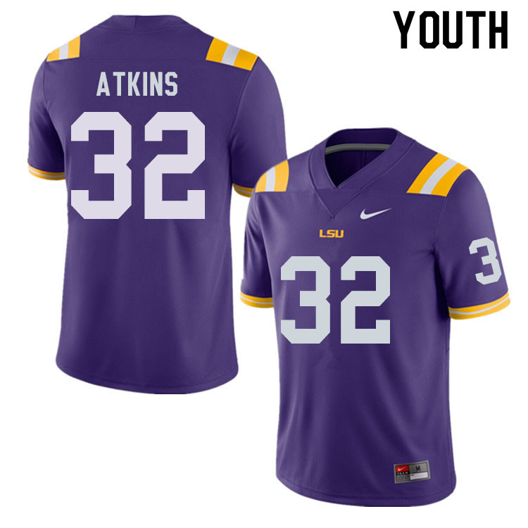Youth #32 Avery Atkins LSU Tigers College Football Jerseys Sale-Purple