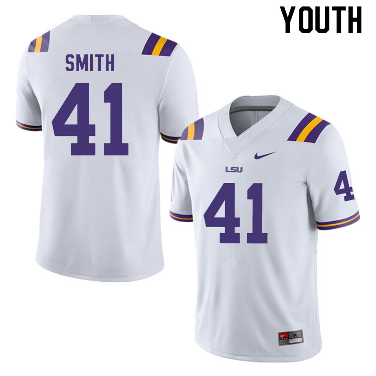 Youth #41 Carlton Smith LSU Tigers College Football Jerseys Sale-White