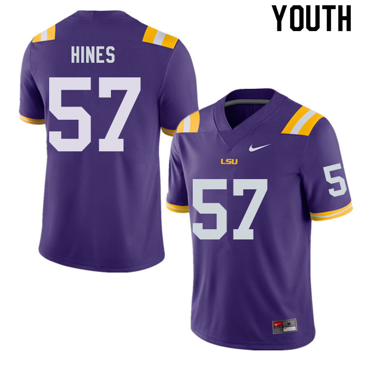 Youth #57 Chasen Hines LSU Tigers College Football Jerseys Sale-Purple