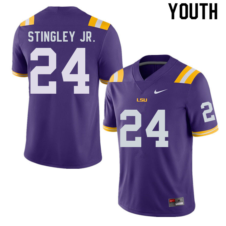 Youth #24 Derek Stingley Jr. LSU Tigers College Football Jerseys Sale-Purple