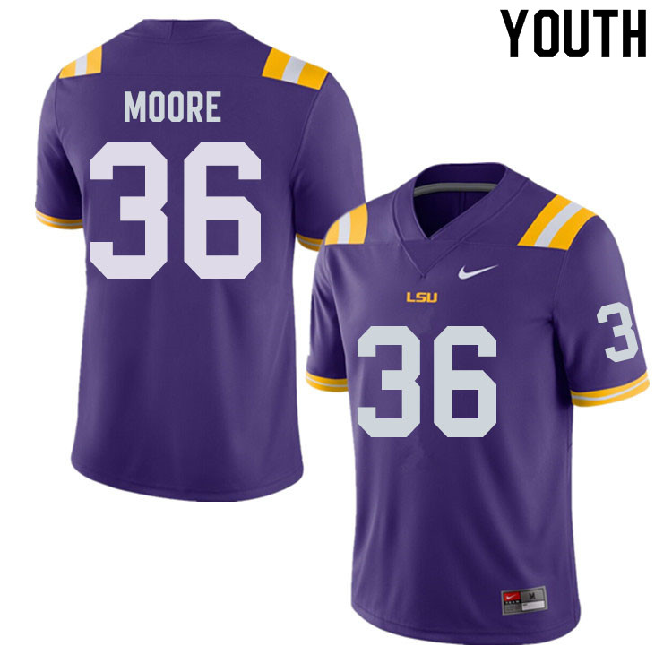 Youth #36 Derian Moore LSU Tigers College Football Jerseys Sale-Purple