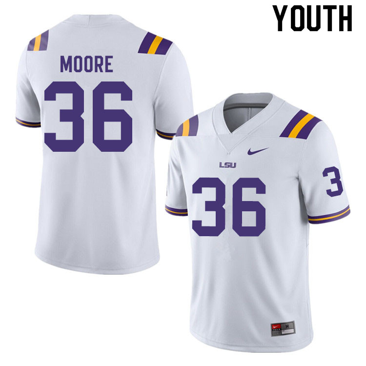 Youth #36 Derian Moore LSU Tigers College Football Jerseys Sale-White