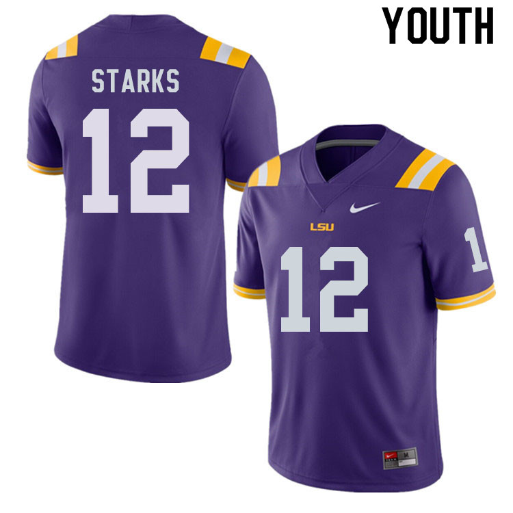 Youth #12 Donte Starks LSU Tigers College Football Jerseys Sale-Purple