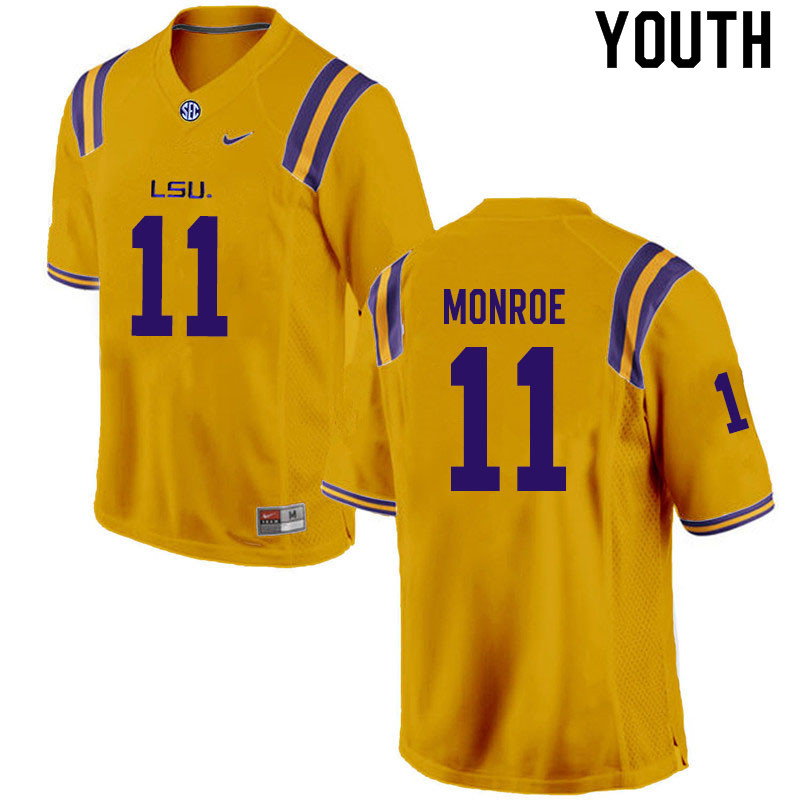 Youth #11 Eric Monroe LSU Tigers College Football Jerseys Sale-Gold