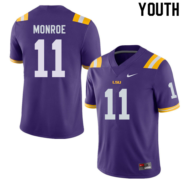 Youth #11 Eric Monroe LSU Tigers College Football Jerseys Sale-Purple