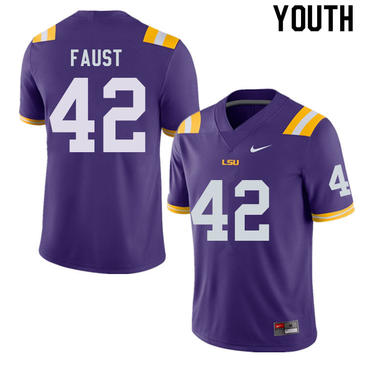Youth #42 Hunter Faust LSU Tigers College Football Jerseys Sale-Purple
