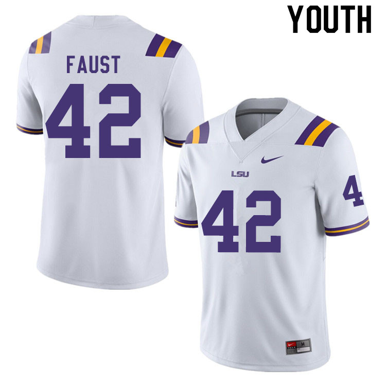 Youth #42 Hunter Faust LSU Tigers College Football Jerseys Sale-White