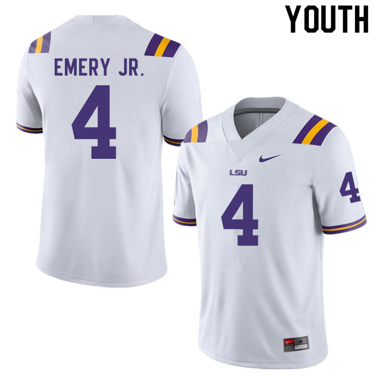 Youth #4 John Emery Jr. LSU Tigers College Football Jerseys Sale-White