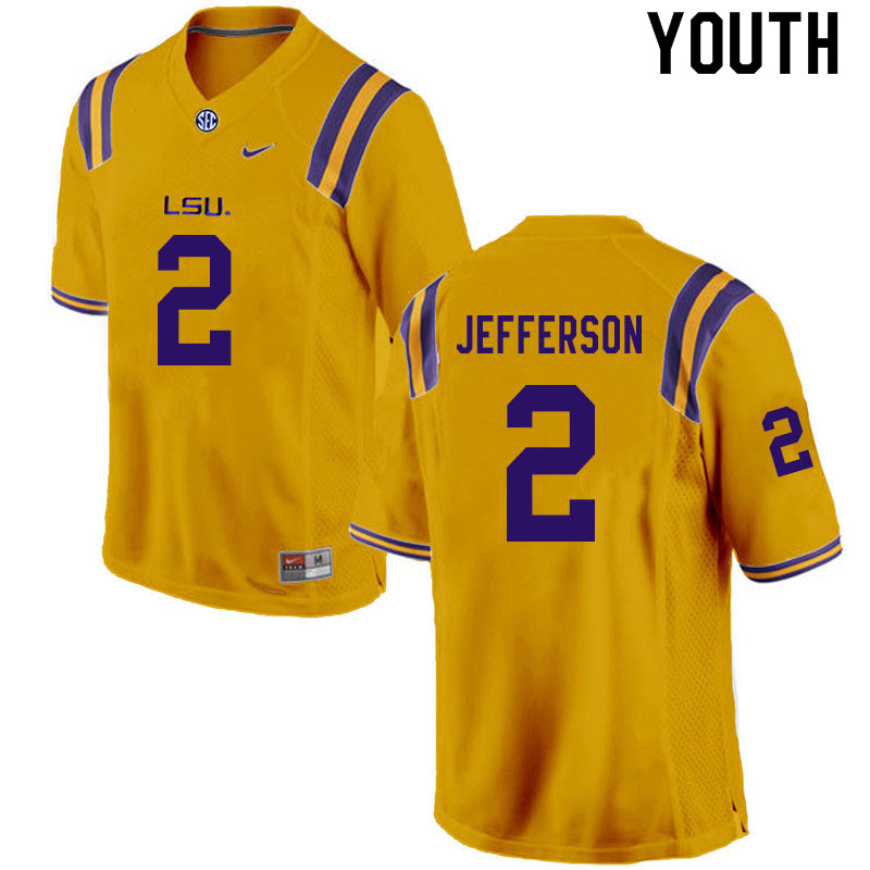 Youth #2 Justin Jefferson LSU Tigers College Football Jerseys Sale-Gold