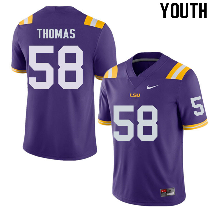 Youth #58 Kardell Thomas LSU Tigers College Football Jerseys Sale-Purple