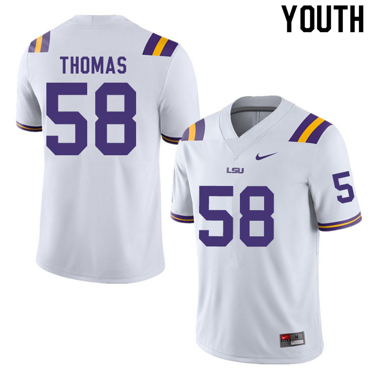 Youth #58 Kardell Thomas LSU Tigers College Football Jerseys Sale-White