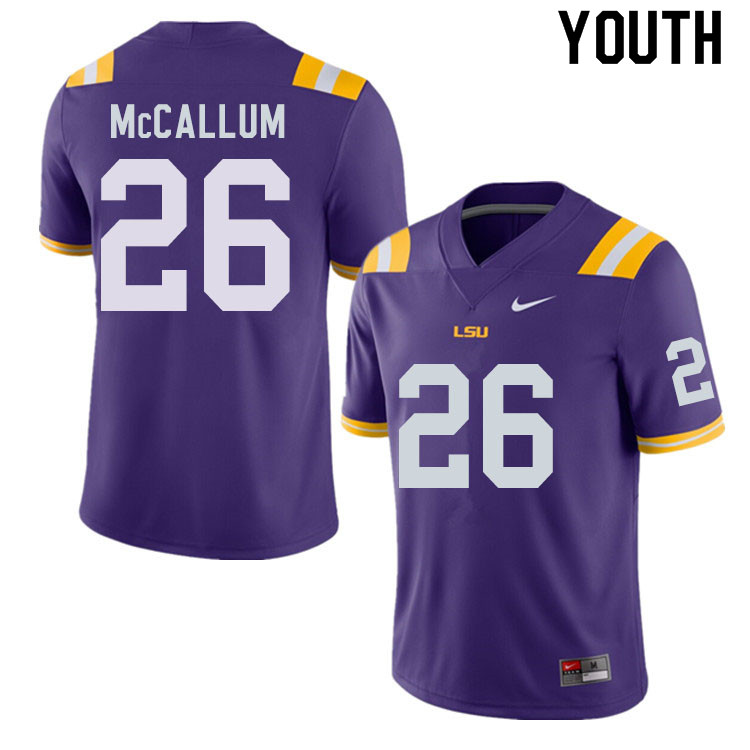 Youth #26 Kendall McCallum LSU Tigers College Football Jerseys Sale-Purple