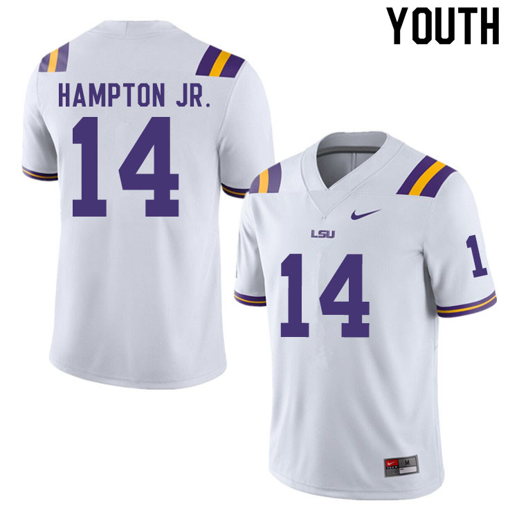 Youth #14 Maurice Hampton Jr. LSU Tigers College Football Jerseys Sale-White