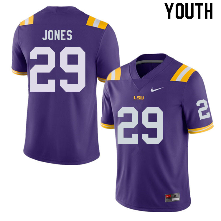 Youth #29 Raydarious Jones LSU Tigers College Football Jerseys Sale-Purple