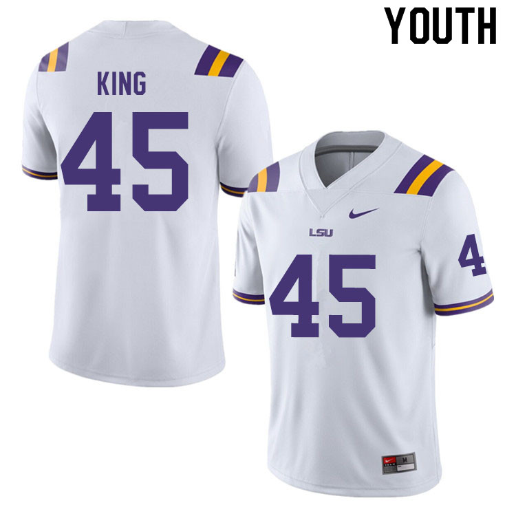Youth #45 Stephen King LSU Tigers College Football Jerseys Sale-White