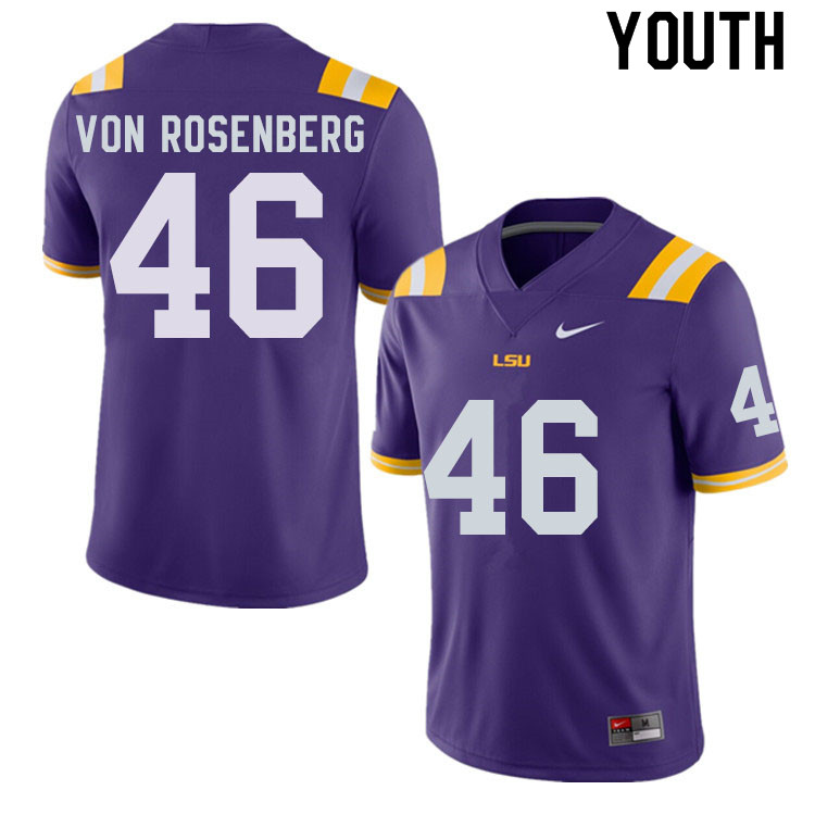 Youth #46 Zach Von Rosenberg LSU Tigers College Football Jerseys Sale-Purple