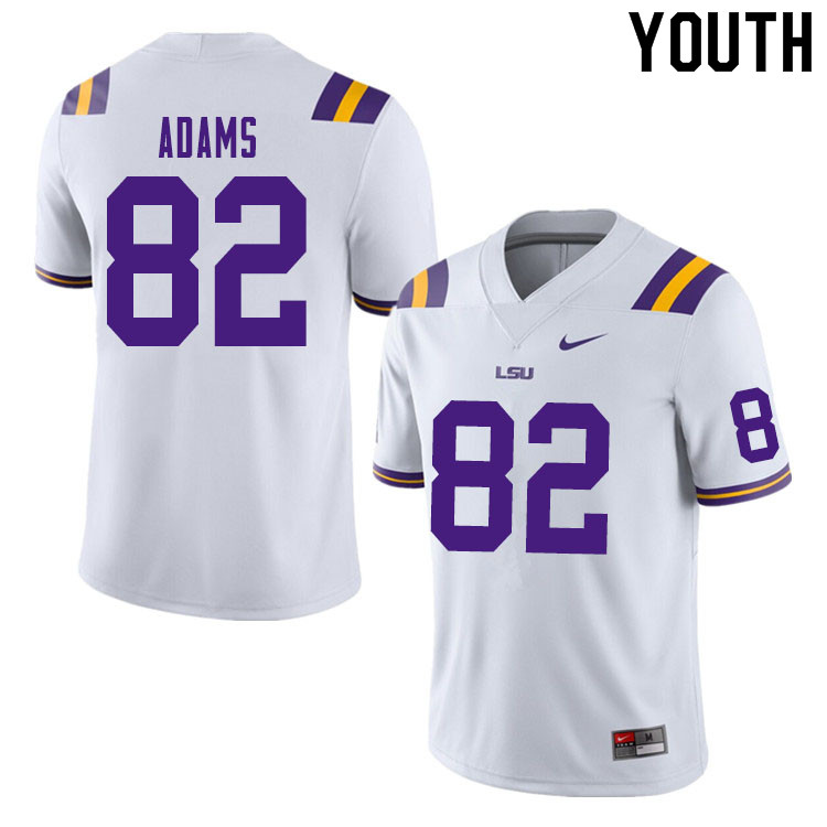 Youth #82 Alex Adams LSU Tigers College Football Jerseys Sale-White
