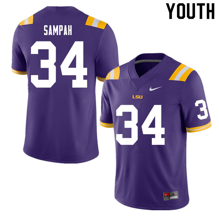 Youth #34 Antoine Sampah LSU Tigers College Football Jerseys Sale-Purple