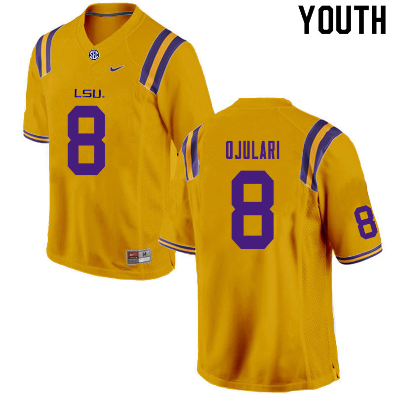 Youth #8 BJ Ojulari LSU Tigers College Football Jerseys Sale-Gold