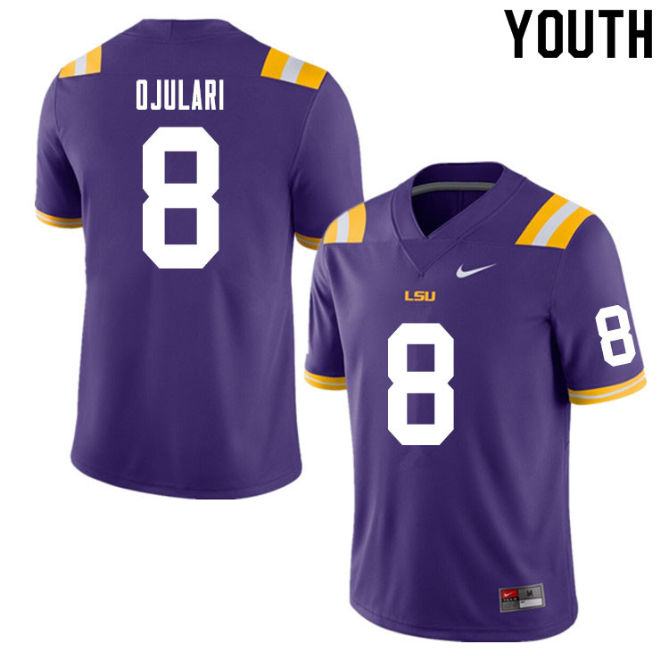 Youth #8 BJ Ojulari LSU Tigers College Football Jerseys Sale-Purple