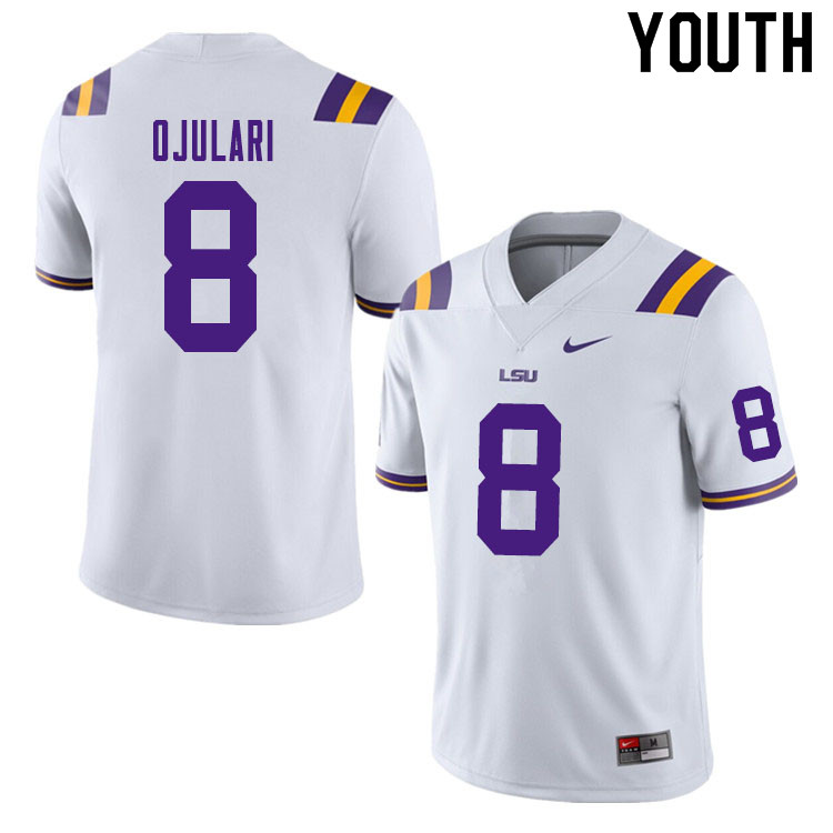 Youth #8 BJ Ojulari LSU Tigers College Football Jerseys Sale-White
