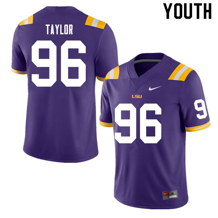 Youth #96 Eric Taylor LSU Tigers College Football Jerseys Sale-Purple