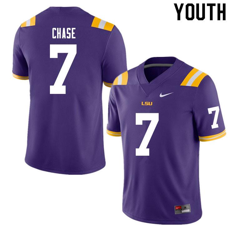 Youth #7 Ja'Marr Chase LSU Tigers College Football Jerseys Sale-Purple