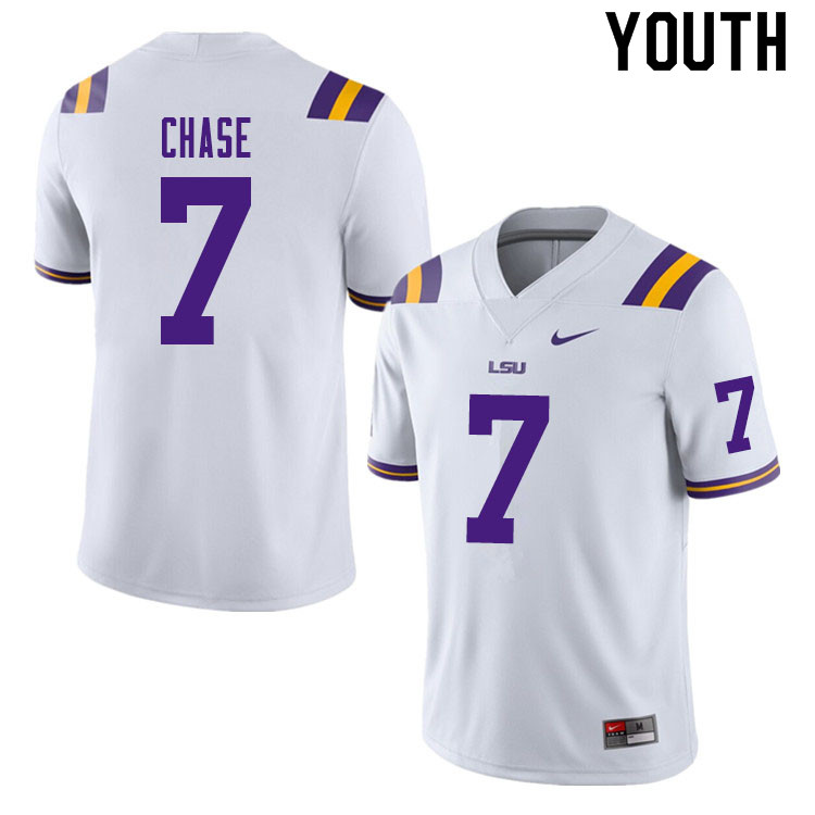 Youth #7 Ja'Marr Chase LSU Tigers College Football Jerseys Sale-White