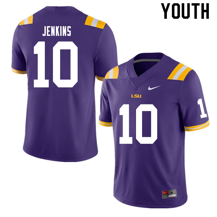 Youth #10 Jaray Jenkins LSU Tigers College Football Jerseys Sale-Purple